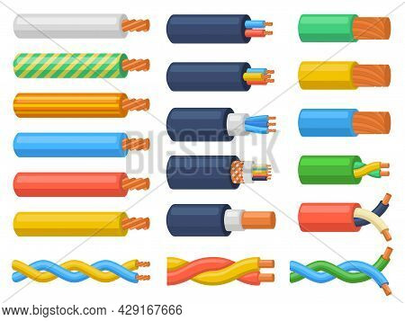 Electric Copper Core Power Supply Wires Cables. Electrical Cable Wires, Flexible Electricity Equipme
