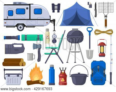 Hiking Camping Outdoor Adventure Tourist Elements. Nature Adventure Tent, Mobile Home, Grill, Campfi