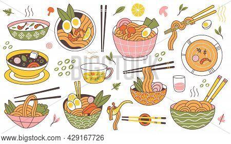 Doodle Ramen Noodles Traditional Asian Food Bowls. Japanese Cuisine Noodle Soup, Delicious Noodles I