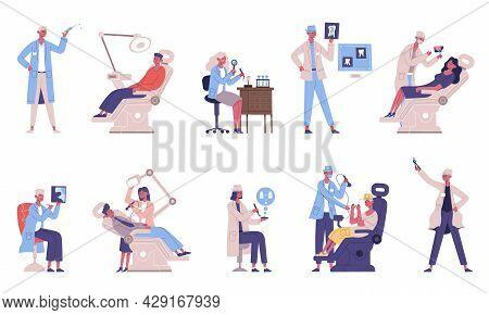 Medical Dental Teeth Checkup Doctor And Patient Characters. Dentist Checking Teeth, Medical Dentists