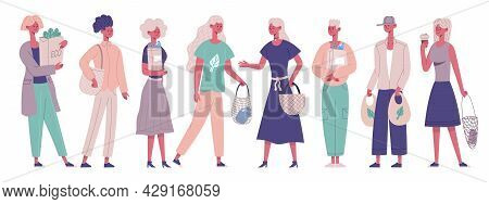 Zero Waste Characters Carrying Eco Shopping Purchasing Bags. Eco Grocery Shopping Male And Female Ch
