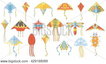 Cartoon Summer Outdoor Activity Flying Paper Kites. Children Kite Games Paper Toy Isolated Vector Il