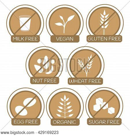 Set Of Icons For Allergens Free Products. Milk Free, Gluten Free, Nut Free, Wheat Free, Egg Free, Su