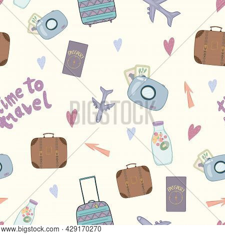 Cute Seamless Childish Pattern With Lettering Travel Time For Textile Decor Design