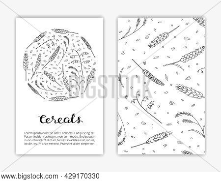 Editable Card Templates With Hand Drawn Cereals, Grains And Text. Used Clipping Mask.