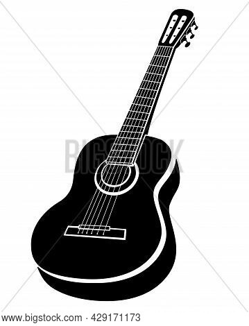 Guitar Musical Instrument - Vector Black And White Silhouette Illustration For Logo Or Pictogram. Ac