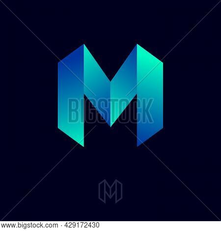 M Letter At Origami Style. Abstract Emblem. M Monogram Consist Of Light-blue Bent Strips Or Ribbons.