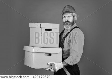 Fast Shipping. Handsome Man Red Cap. Service Delivery. Post Worker. Delivering Purchase. Shopping. B