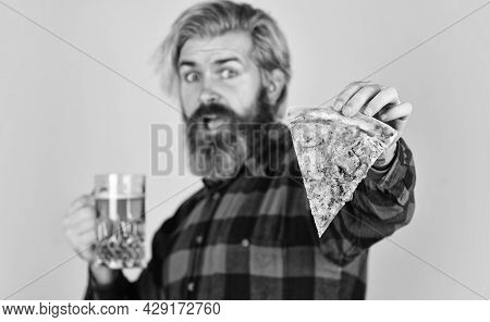 Gourmet Food. Cheerful Man Bearded Hipster Hold Pizza. Perfect Rest In Pub. Hungry Man Going To Eat