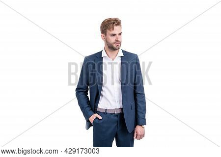 Confident Successful Man Businessman In Businesslike Suit Isolated On White, Formalwear