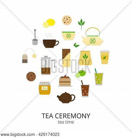 Flat Tea Items And Accessories Composed In Circle Shape. Tea Cup, Pot, Cake, Tea Strainer, Honey, Le