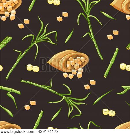 Sugarcane Stems And Leaves, A Bag Of Sugar Seamless Pattern. Vector Illustration.
