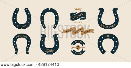 Lucky Horseshoe. Set Of Horseshoes, Graphic And Lucky Symbols. Design Elements, Set Drawing, Vintage