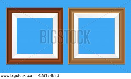 Square Wooden Or Plastic Realistic Frames For Pictures And Photos. Vector Illustration. Isolated Mon