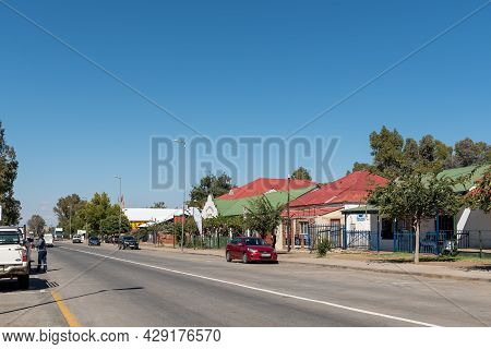 Smithfield, South Africa - April 23, 2021: A Street Scene, With Businesses, People And Vehicles, In