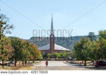 Smithfield, South Africa - April 23, 2021: A Street Scene, With Dutch Reformed Church, In Smithfield