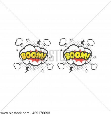 Boom Explosion Colorful Vector Cartoon. Boom! Text Lettering Comic.