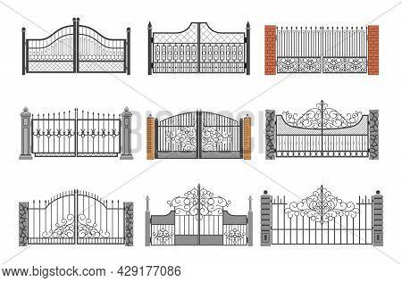 Set Of Ornamental Forged Gates Vector Flat Illustration Decorative Curved Metallic Railing