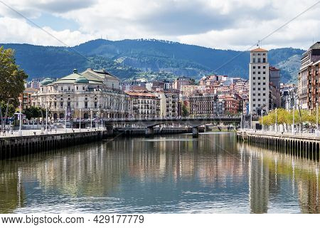 Bilbao, Spain - Sep 02, 2020: The Cityscape Of Bilbao, Spain. The Nervion River Crosses Bilbao Downt