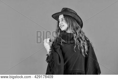 Confident And Ambitious. Teen In Hat. Stylish Looking Girl. Small Girl Wear Autumn Clothes. Retro Fa