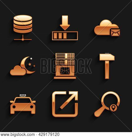 Set Mail Server, Open In New Window, Search Location, Hammer, Taxi Car And Cloud With Moon And Stars