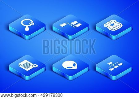Set Folder Tree, Unknown Search, Alien, Document, And Police Badge Icon. Vector