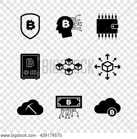 Set Shield With Bitcoin, Bitcoin Think, Cryptocurrency Wallet, Cloud Mining, Circuit And Icon. Vecto