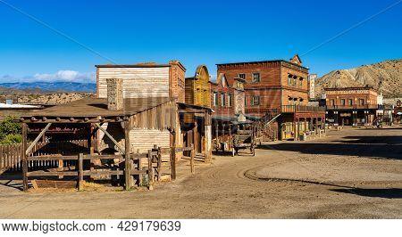 Tabernas, Spain - Nov 29, 2019: Mini Hollywood Or Oasys Is A Spanish Western-styled Theme Park, Loca