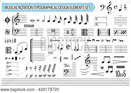 Musical Notation, Notes, Music Symbols And Signs, Set. Templates, Black Editable Elements Collection