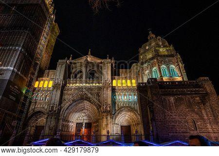 Toledo, Spain - Nov 30, 2019: The Primate Cathedral Of Saint Mary Of Toledo, Catedral Primada Santa