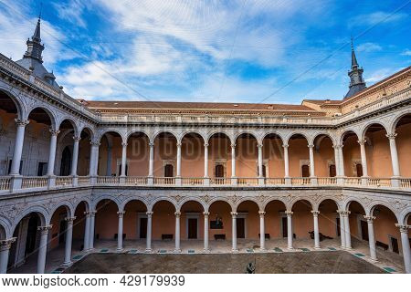 Toledo, Spain - Dec 01, 2019: Alcazar Of Toledo, A Stone Fortification Located In The Highest Part O