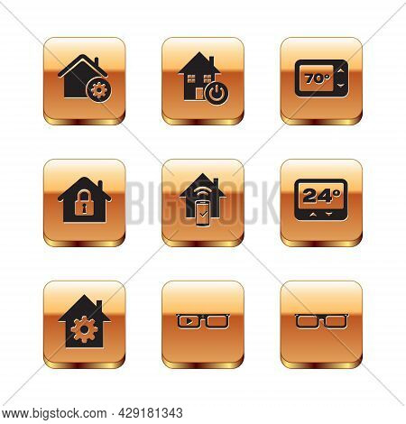 Set Smart Home Settings, Glasses, Remote Control System, House Under Protection, Thermostat, Glasses