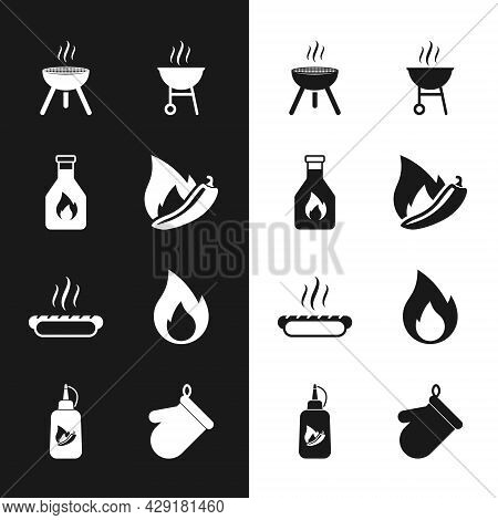 Set Hot Chili Pepper Pod, Ketchup Bottle, Barbecue Grill, Hotdog Sandwich, Fire Flame, Oven Glove An