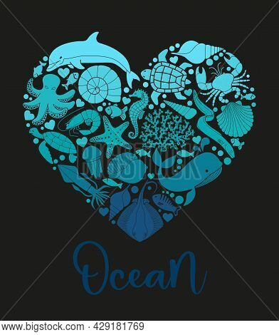 A Sea Or Ocean Of Underwater Life With Different Animals And Marine Objects United In A Heart Shape.