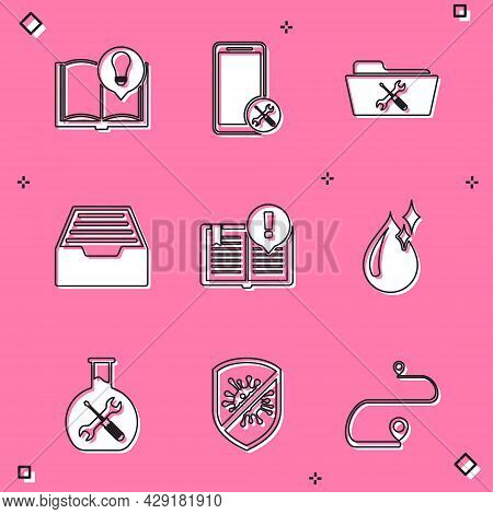 Set Interesting Facts, Mobile Service, Folder, Drawer With Documents, Clean Water Drop, Bioengineeri