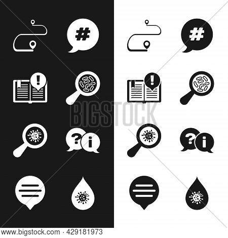 Set Microorganisms Under Magnifier, Interesting Facts, Route Location, Hashtag Speech Bubble, Questi