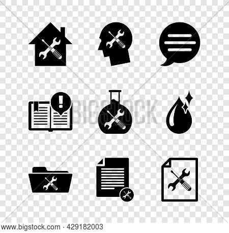 Set House Service, Human Head, Speech Bubble Chat, Folder, File Document, Interesting Facts And Bioe