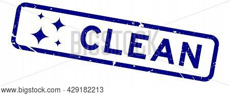 Grunge Blue Clean Word With Blink Icon Rubber Seal Stamp On White Background