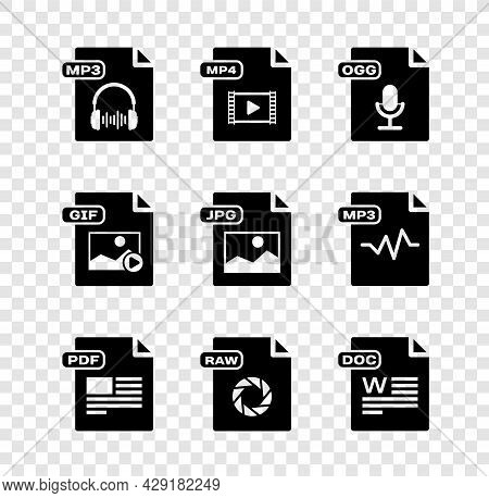 Set Mp3 File Document, Mp4, Ogg, Pdf, Raw, Doc, Gif And Jpg Icon. Vector
