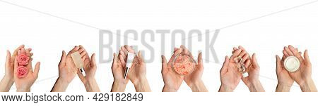 Female Caucasian Hands Hold Beauty Cosmetisc Products On White Background