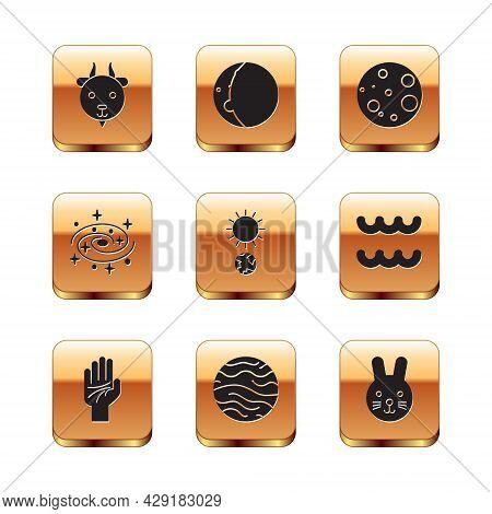 Set Aries Zodiac, Palmistry Of The Hand, Planet Venus, Solstice, Milky Way Spiral Galaxy, Moon, Rabb