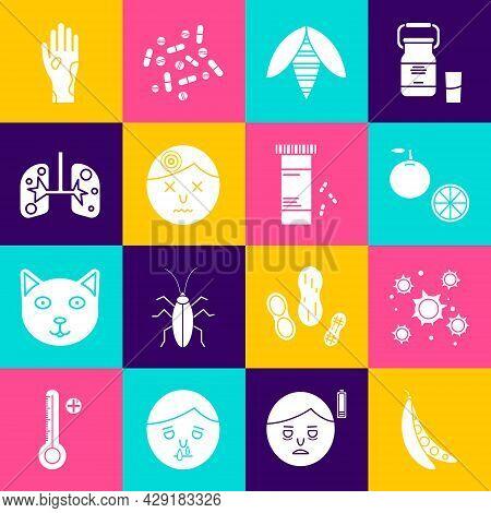Set Kidney Beans, Bacteria, Orange Fruit, Bee, Man Having Headache, Lungs, Hand With Psoriasis Or Ec