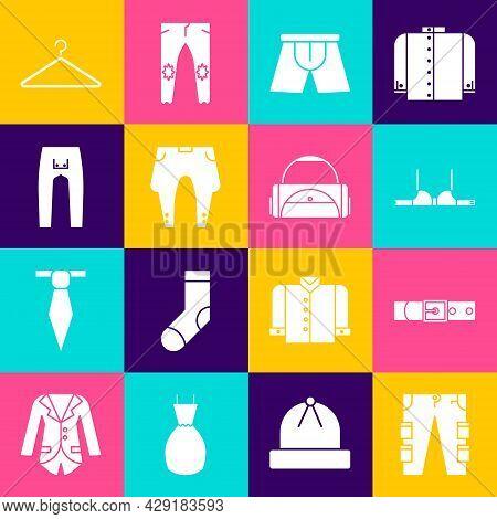 Set Cargo Pants, Leather Belt, Bra, Men Underpants, Pants, Hanger Wardrobe And Sport Bag Icon. Vecto