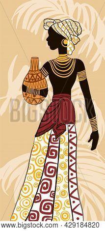Beautiful Black Woman.african Woman. Trendy Vector Illustration