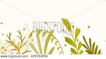 Background Or Template With Floral Elements, Nature Vector Illustration