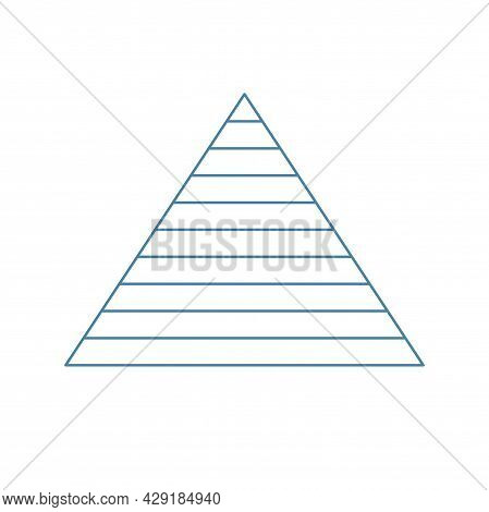 Pyramid Scheme 10 Ten Steps. Vector Hierarchy Level Chart Graph, Blue Diagram Structure. Triangle In