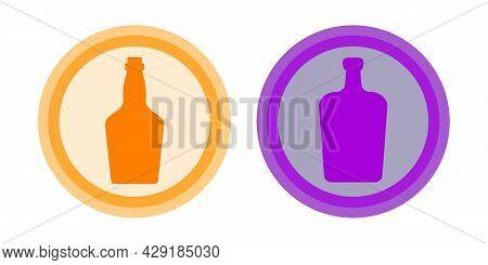 Bottle Of Liquor, Whiskey. Background Is Circle. Isolated Color Object Design Beverage. Graphic Illu