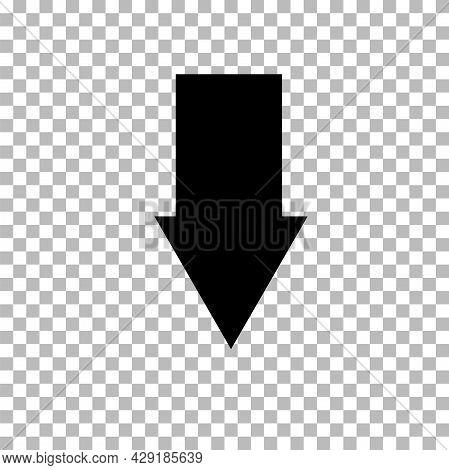 Down Arrow Icon On Transparent Background. Down Arrow Sign. Down Arrow Logo. Flat Style.
