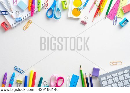 Frame Of Shcool Supplies And Keyboard On White Background. Back To School, Distance Learning Online