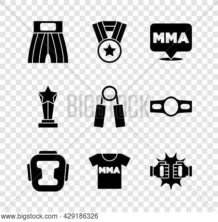 Set Boxing Short, Medal, Fight Club Mma, Helmet, T-shirt With Fight, Punch Boxing Gloves, Award Cup